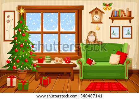 Vector Illustration Of Christmas Living Room With Fir Tree, Sofa And  Snowfall Behind The