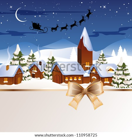 Vector Illustration of Christmas night in the Village - stock vector