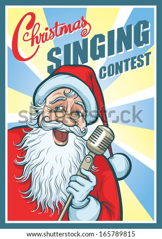 Vector illustration of Christmas Singing Contest Poster. Easy-edit layered vector EPS10 file scalable to any size without quality loss. High resolution raster JPG file is included.  - stock vector