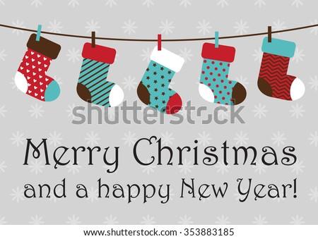 vector illustration of Christmas socks hanging on rope. EPS - stock vector