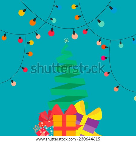 Vector illustration of Christmas tree with gifts in style flat - stock vector