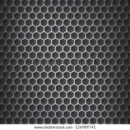 Vector illustration of chrome metal grid with rounded honeycombs - stock vector