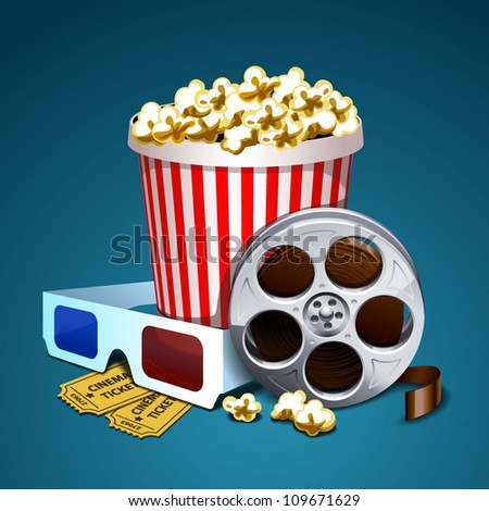 Vector illustration of cinema - stock vector