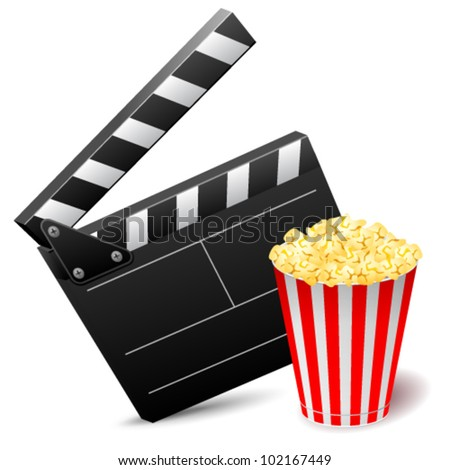 Vector illustration of cinema clap with popcorn - stock vector