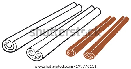 vector illustration of cinnamon sticks - stock vector