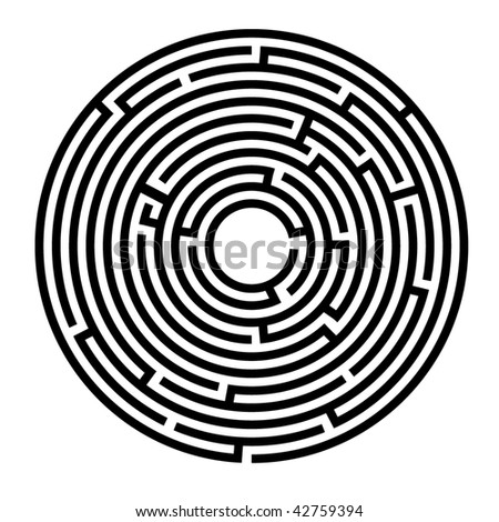 Vector illustration of circle maze