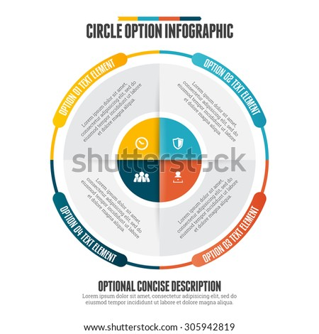 Vector illustration of circle option infographic design element. - stock vector