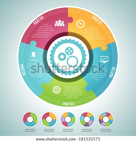 Vector illustration of circle puzzle infographic elements set. Provided are sets of 3, 4, 5, 6, 7, and 8 part circle continuous puzzle. Cheers! - stock vector