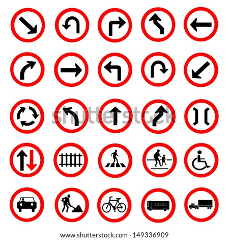 Vector illustration of circle red road signs collection - stock vector