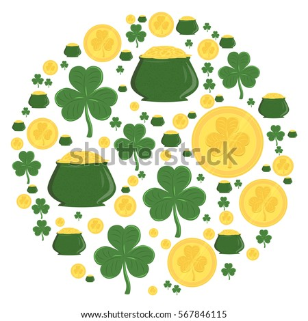 Vector illustration of circle with green shamrocks gold pots and gold coins for St. Patrick's day