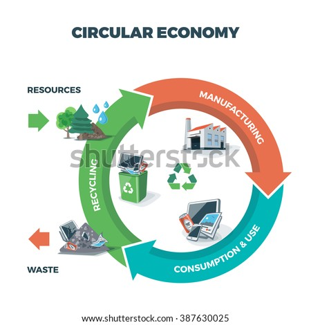 Vector illustration of circular economy showing product and material flow on white background with. Product life cycle. After usage product is recycled or dumped. Waste recycling management concept.