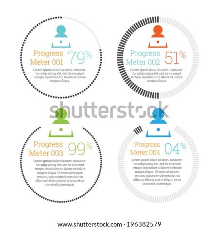 Vector illustration of circular progress meter infographic element. - stock vector