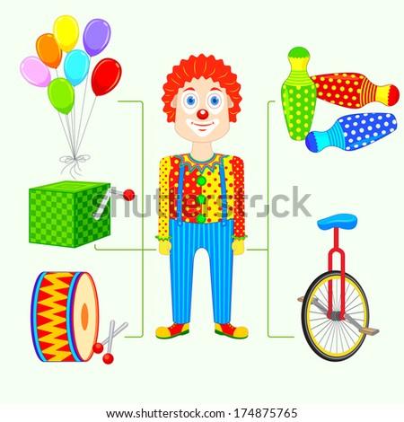 vector illustration of circus clown - stock vector