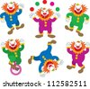 Vector Illustration of Circus Clowns Performing, isolated - stock