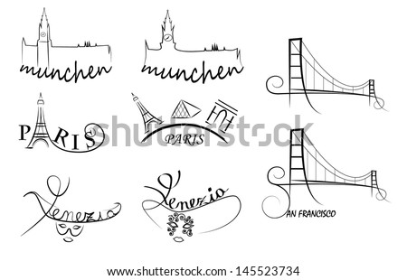 Vector Illustration Cities Symbols Paris Munich Stock Vector