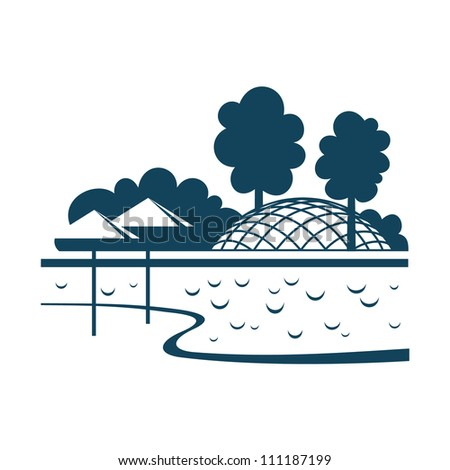 Vector illustration of city park. Stylized icon with river, beach on island, embankment, trees and pavilion. Perspective view of recreation district in downtown or suburb. Abstract sign of planning - stock vector