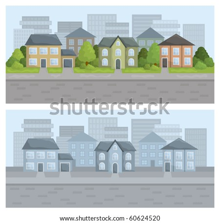 Vector illustration of city street in residential district. - stock vector