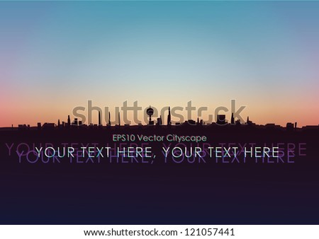 Vector illustration of cityscape at dawn - stock vector