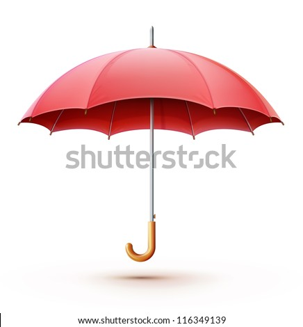 Vector illustration of classic elegant opened red umbrella isolated on white background. - stock vector