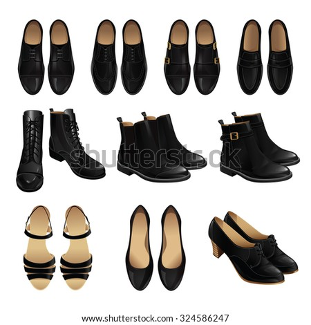 vector illustration classic shoes style black stock vector