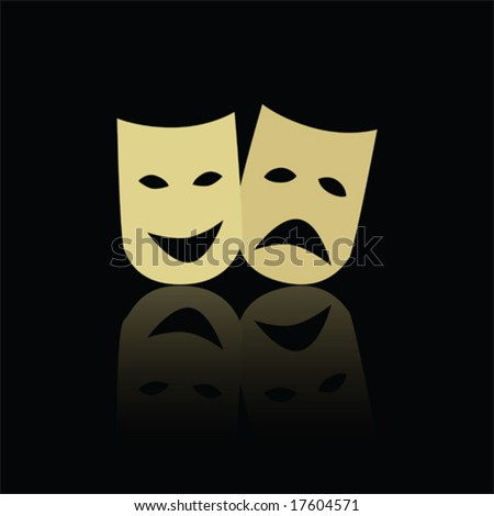 Vector illustration of classic theater happy and sad masks, reflected on black background. For jpeg version, please see my portfolio. - stock vector