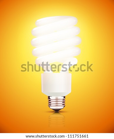 Vector illustration of classy energy saving compact fluorescent lightbulb on a orange background - stock vector