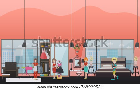 Best Way To Dust Furniture Concept vector illustration cleaning women dusting furniture stock vector