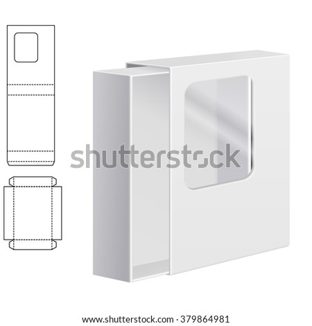 Vector Illustration of Clear dieline Folding Carton Box with window for Design, Website, Background, Banner. White Package Template isolated on white. Retail pack with diecut for your brand on it - stock vector