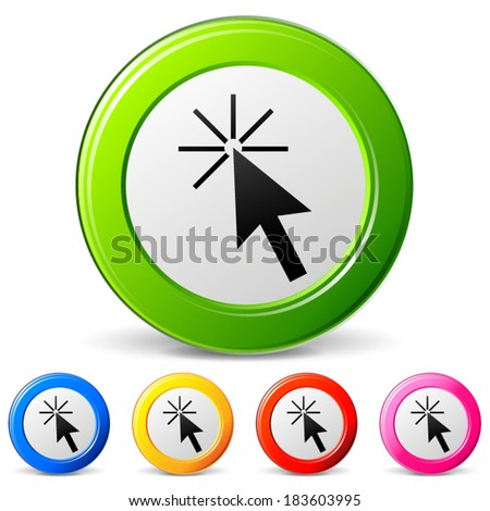 Vector illustration of click icons on white background - stock vector