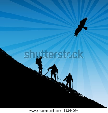 Vector illustration of climbers ascending a ridge at sunset in the alps with a soaring eagle in the background - stock vector