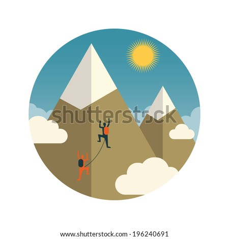 Vector illustration of climbers couple in the mountains. - stock vector