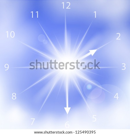 Vector illustration of clock sun on a blue cloudy sky. - stock vector