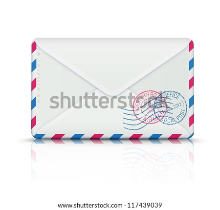 Vector illustration of close airmail envelope with rubber stamps - stock vector