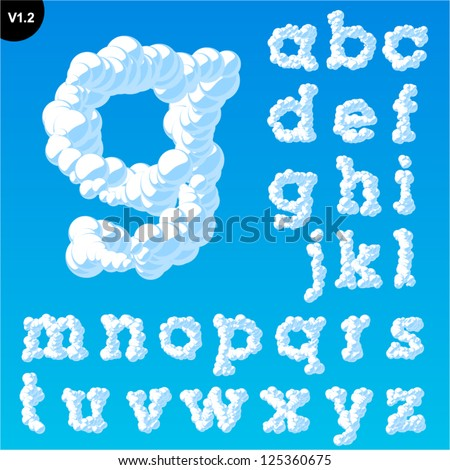 Vector illustration of cloud alphabet on a blue sky background. Font with serifs Smallcase - stock vector
