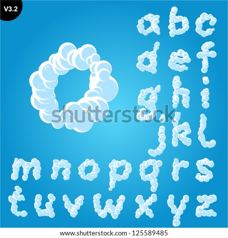 Vector illustration of cloud alphabet on a blue sky background. Freehand font Smallcase - stock vector