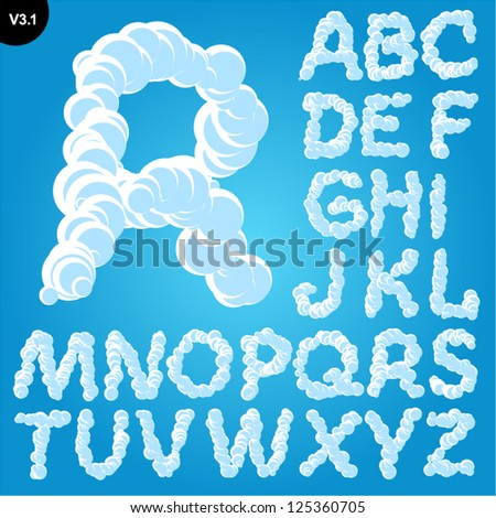 Vector illustration of cloud alphabet on a blue sky background. Freehand font Uppercase - stock vector