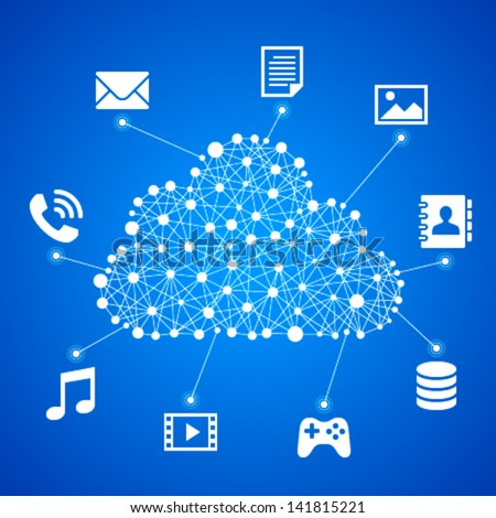 Vector illustration of cloud computing - stock vector