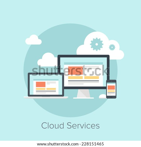 Vector illustration of cloud computing concept on different electronic devices. - stock vector