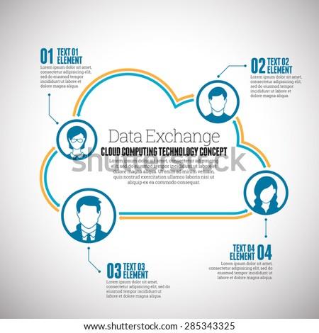 Vector illustration of cloud data exchange infographic design element. - stock vector