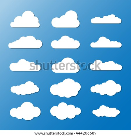 Vector illustration of clouds collection. Cloud vector set. Clouds blue sky. Cloudscape.