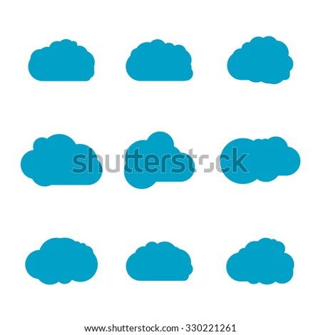 Vector illustration of clouds collection isolated on white. Collection of stylized fluffy cloud silhouettes, vector sky cloud, cloud sign, vector cloud set