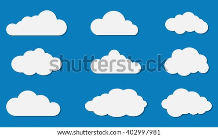 Vector illustration of clouds collection on blue background