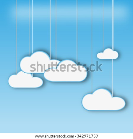 Vector illustration of clouds on the blue background