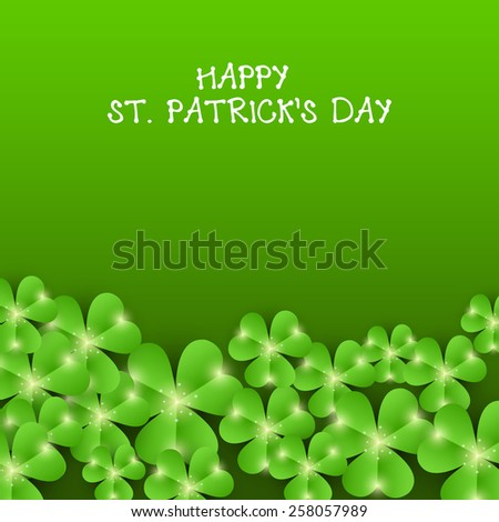 Vector illustration of clover for Happy St. Patrick's Day in green background. - stock vector