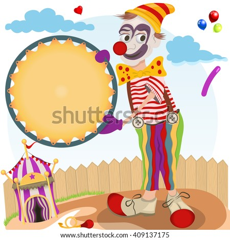 Vector illustration of clown with round banner and a small circus tent.