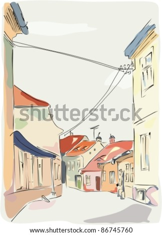 Vector illustration of cobbled street in Sibiu, Romania