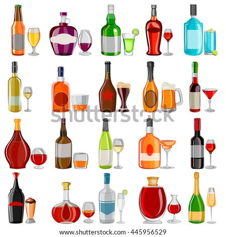 vector illustration of Cocktail and Beverage drink glass with bottle set