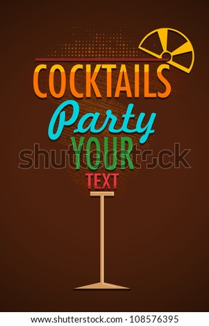 vector illustration of cocktail glass in typography style - stock vector