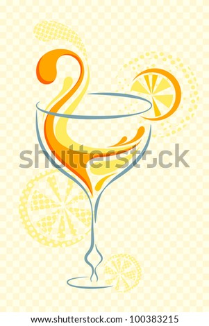 vector illustration of cocktail glass with slice of orange - stock vector