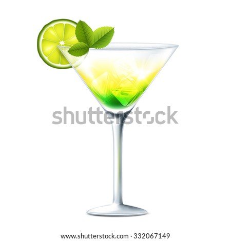 Vector illustration of cocktail with lime on transparent background
